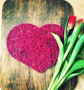 Подарок картина пано сердце string art