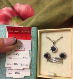 Серебряный комплект и кольцо