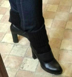 Туфли натуральная кожа с трикотажным голенищем