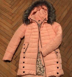 Зимнее розовое пальто