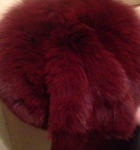Дубленка кожа натуральная ,шапка мех песец.