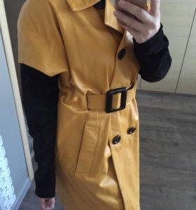 Кожаное полупальто-куртка