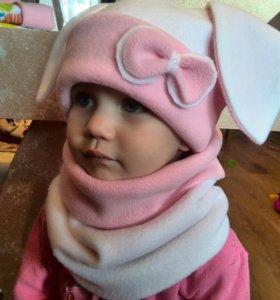 Комплект из флиса,шапочка с ушами и шарф-снуд.