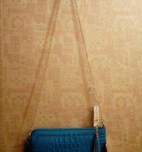 новая сумочка-клатч из натуральной кожи