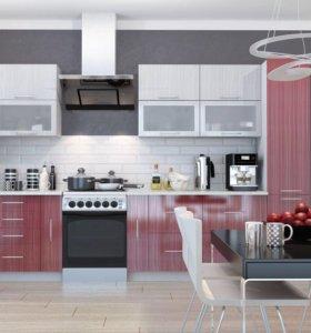 Кухня модульная Титан-2 Белый/Красный Стрипс