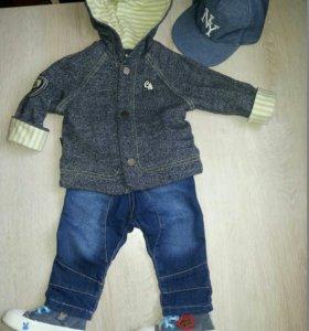 Пиджак, джинсы, кепка, кеды