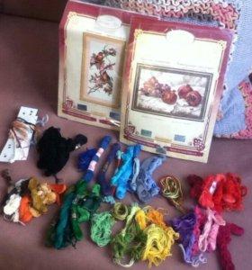 Наборы вышивки+нитки мулине
