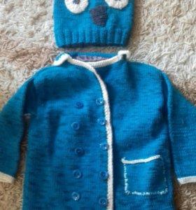 Пальто-(ветровка )и шапка детская вязаные