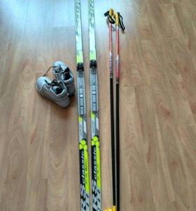 Лыжи+палки+ботинки(35-36р)