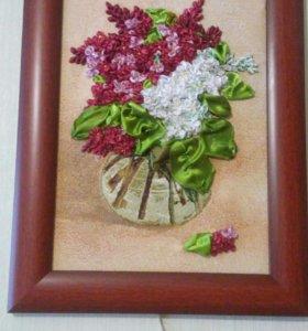 Картины вышивка лентами по гобелену и ткани
