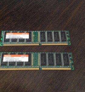 Оперативная память ddr 400 MHz 256 Mb 2 шт.