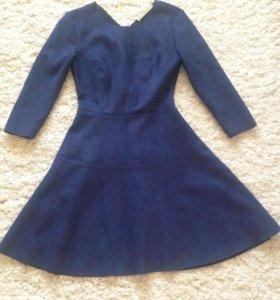 Платье замшевое синее