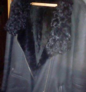 Куртка натуральный мех овчина кожа выворотка