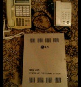 Станция АТС LG GHX-616 с телефонами