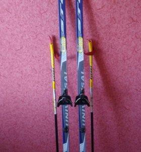 Лыжи беговые 160 см. Палки 110см