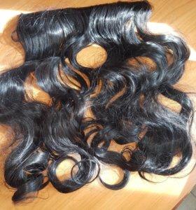 Волосы на заколках хвост 50см
