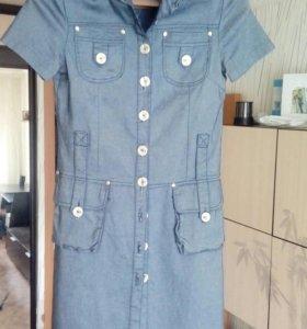 Джинсовая рубашка-платье