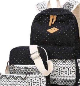 Рюкзак, сумка, косметичка чёрные с орнаментом