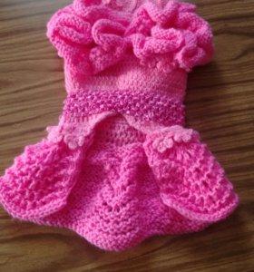 Розовое шерстяное платье для мини красотки