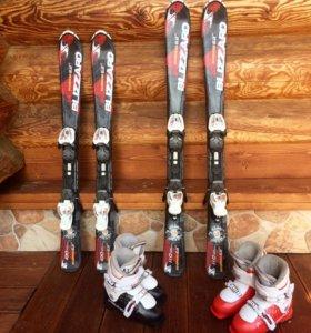 Горные лыжи Blizzard 110 см + ботинки Head 20,5