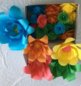 Цветочный декор и объёмная цифра 2