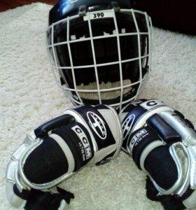 Шлем и краги для хоккея