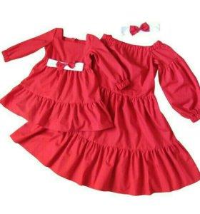 Комплект Платья и повязочки,для мамы и дочки