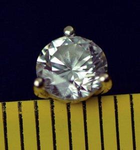 Серьга-гвоздик с Натуральным Бриллиантом 0.35 кар.
