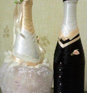 Праздничное оформление бутылок и бокалов