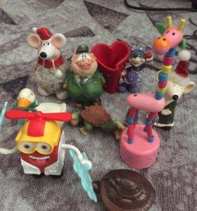 Сувенирчики, мышки, свинка, жираф, гусь, черепашки