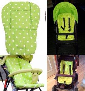 Хлопковые матрасики в коляску, автокресло,стульчик