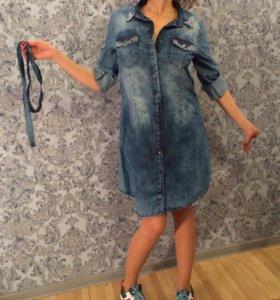 Джинсовая рубашка платье