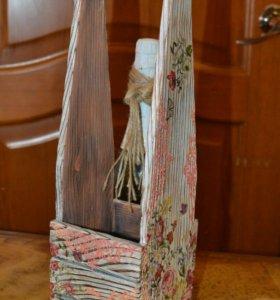 Короб для вина, подарочная упаковка ручной работы
