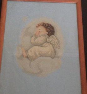 """Вышивка """"Спящий ангелочек"""" с рамкой"""