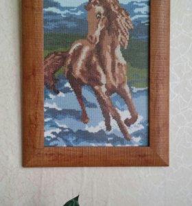 """Картина,вышитая крестом """"Лошадка"""""""