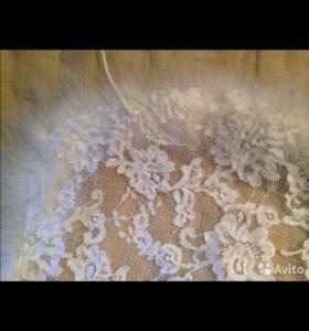 Накидка с мехом и узором из роз(цветов)