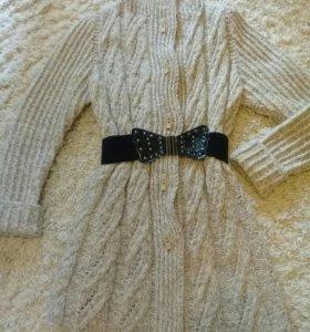Вязаное пальто р. 42-44