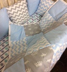 Бортики в кроватку+одеялко