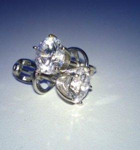 Серебряные серьги с фианитом Swarovski