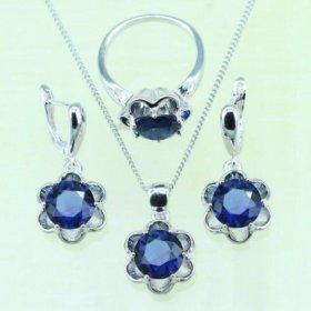Комплект ювелирной бижутерии синий сапфир.
