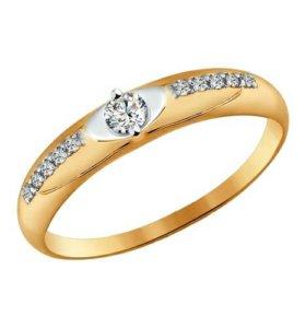 Золотое кольцо с вставкой фианит SWAROVSKI
