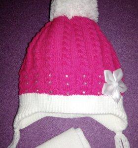 Красивая шапочка с шарфом