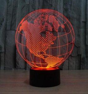 3 D светильник Глобус детский ночник сувенир