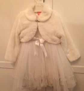 Нарядное белое платье и болеро