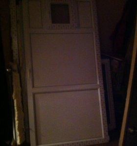 Пластиковая дверь +ветрина б/у2000-1020вместе