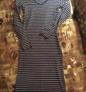 Платье-лапша синее