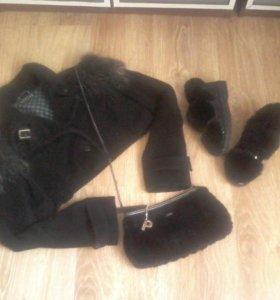 Пальто, сумка, макасины