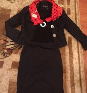 Пиджак маечке шарфик юбка