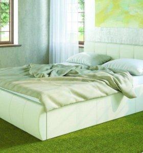 Новая двуспальная кровать из кожи