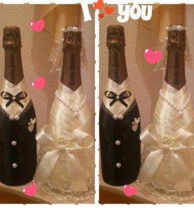 Свадебный декор бутылочек любой сложности